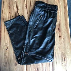 Zara Leather Zippered Joggers